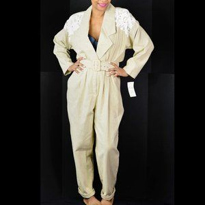 Vintage Jumpsuit Cotton Embellished Size Medium